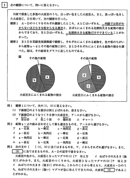 北海道公立高校入試理科2009年過去問