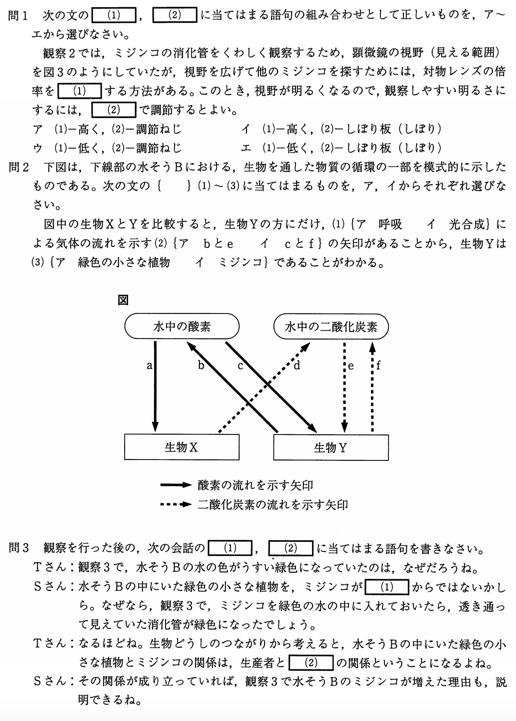 北海道公立高校入試理科2007年過去問