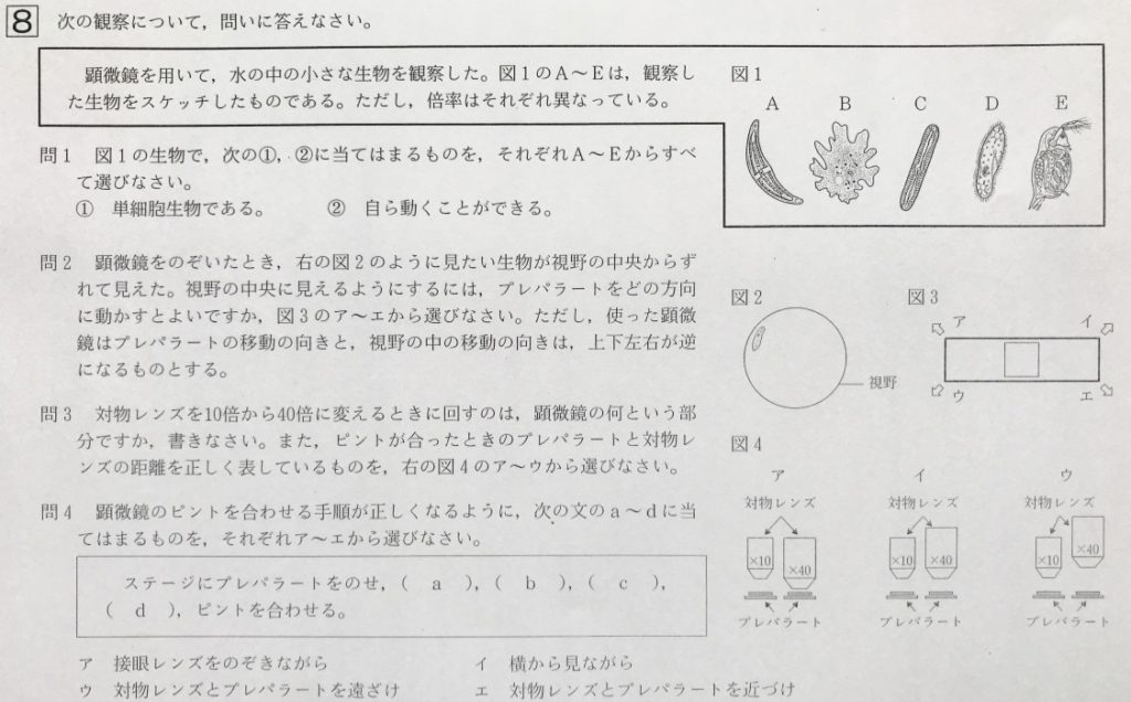 中3北海道学力テスト総合A「理科」(2019、令和元年)問題