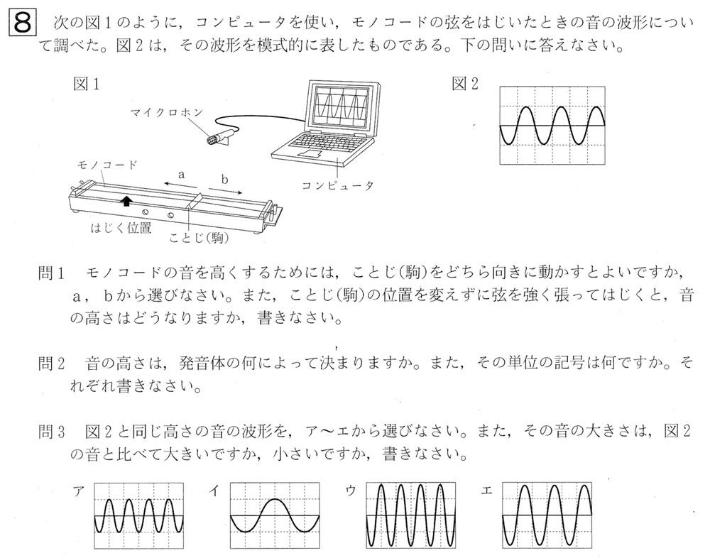 北海道学力テスト中1理科2017年第4回過去問題