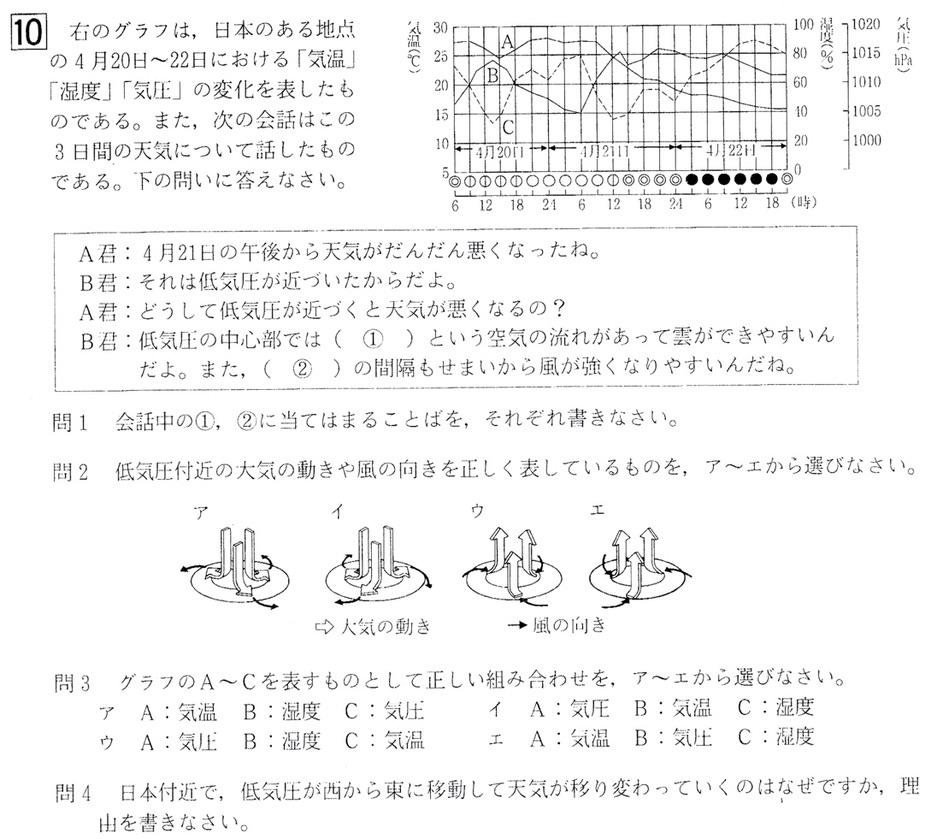 北海道学力テスト中2理科2016年第4回過去問題