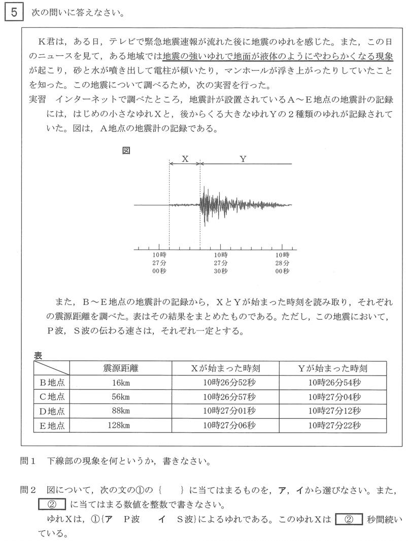 北海道公立高校入試理科2021年(令和3年)過去問